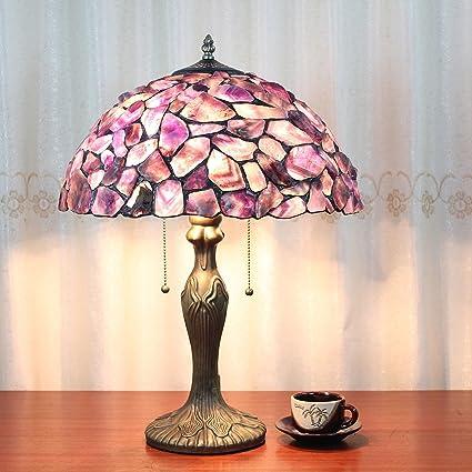 Europea Tiffany Lámpara de mesa de 16 pulgadas de piedra púrpura ...