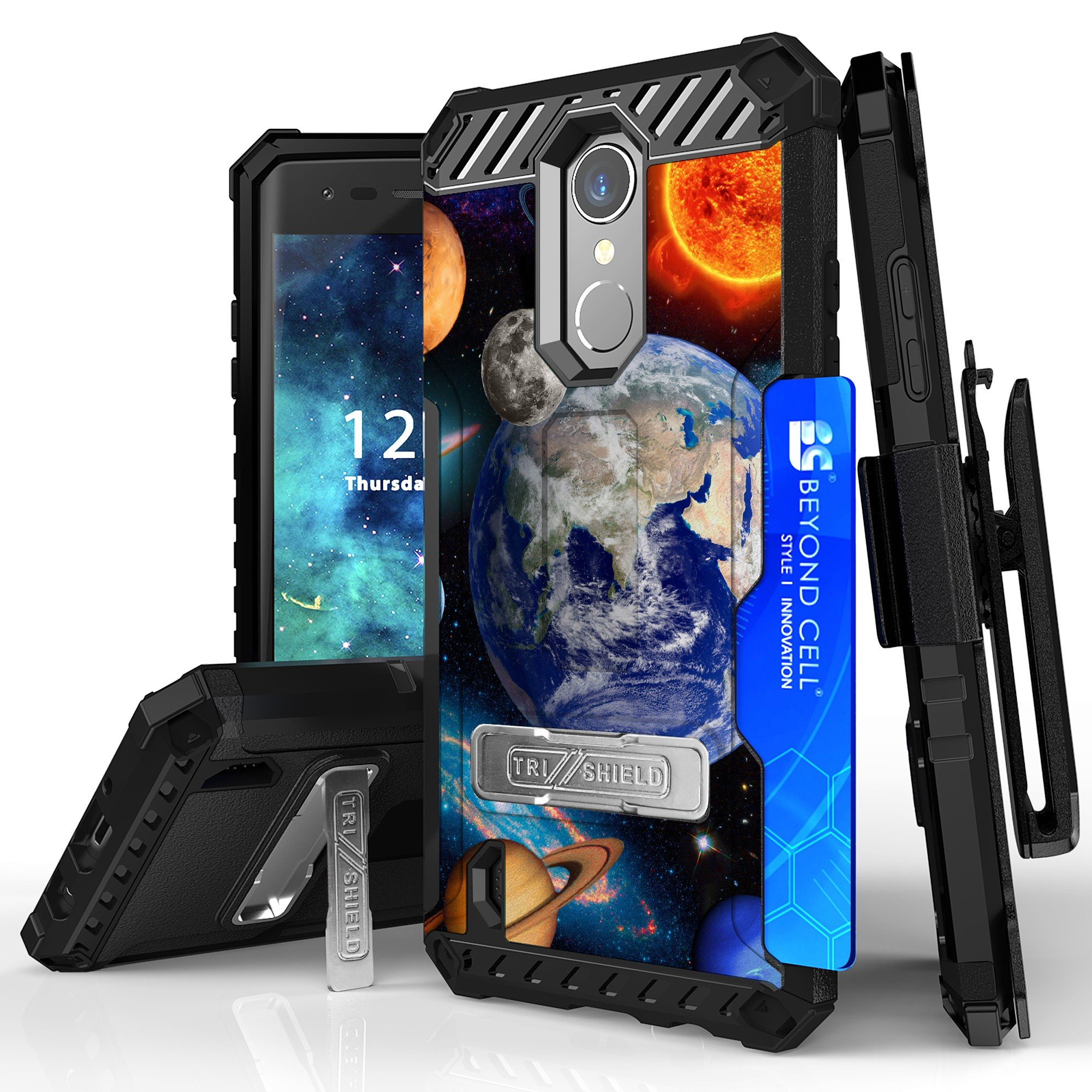 LG Fortune, LG Aristo, K8 (2017), Phoenix 3, Rebel 2 LTE, Risio 2 Case, DuroCase Combat Armor Style Kickstand Cover With Screen Protector Belt Clip Holster Phone Strap - (Solar Planet Galaxy)