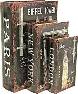 Bellaa 28137 London Paris New York Secret Storage Book Box Memories Jewelry Trinket Hobby Keepsake