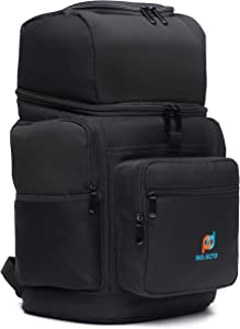 Leakproof Insulated Meal Prep Backpack Cooler Bag- Two Insulated Compartment. Heavy Duty 1000D Fabric, High Density Foam, Heat Sealed Liner, Multiple Large Pockets, Strong Zipper, Padded Straps.