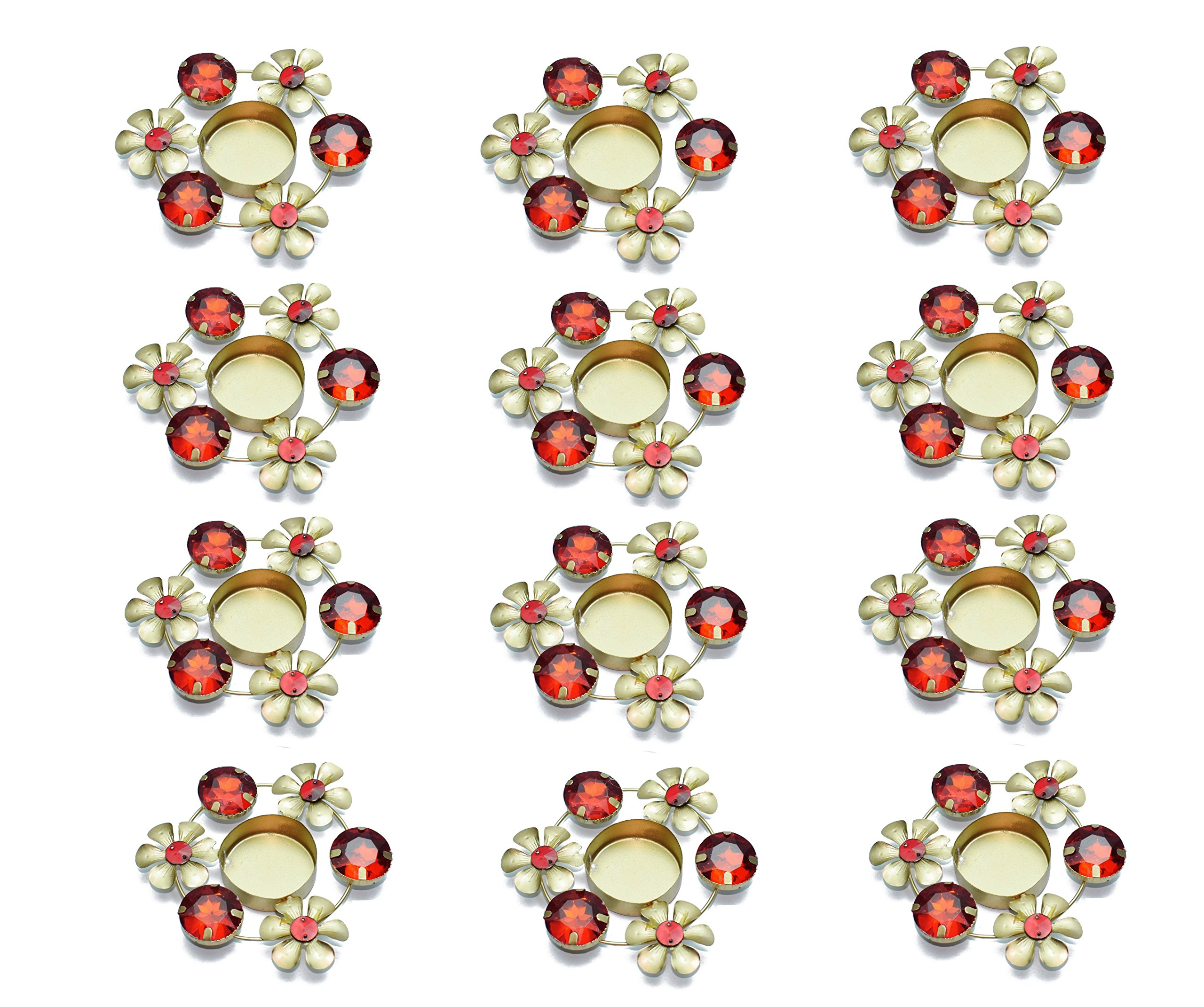 Set of 12 pc Christmas Gift/Decoration Beautiful Christmas Tea Light Holder with Red stones in Random Foil Paint. Tea Light Holder/Christmas Decoration