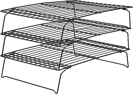 3 Tier Cooling Rack Nonstick Coating Bakeware Bake Cookie Stackable Collapsible