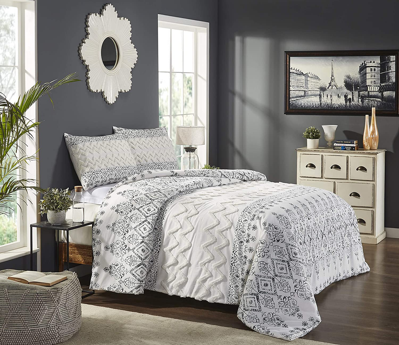 Beatrice Home Fashions Chennai 3-Piece Cotton Chenille Bedding Comforter Set, Queen, Multi