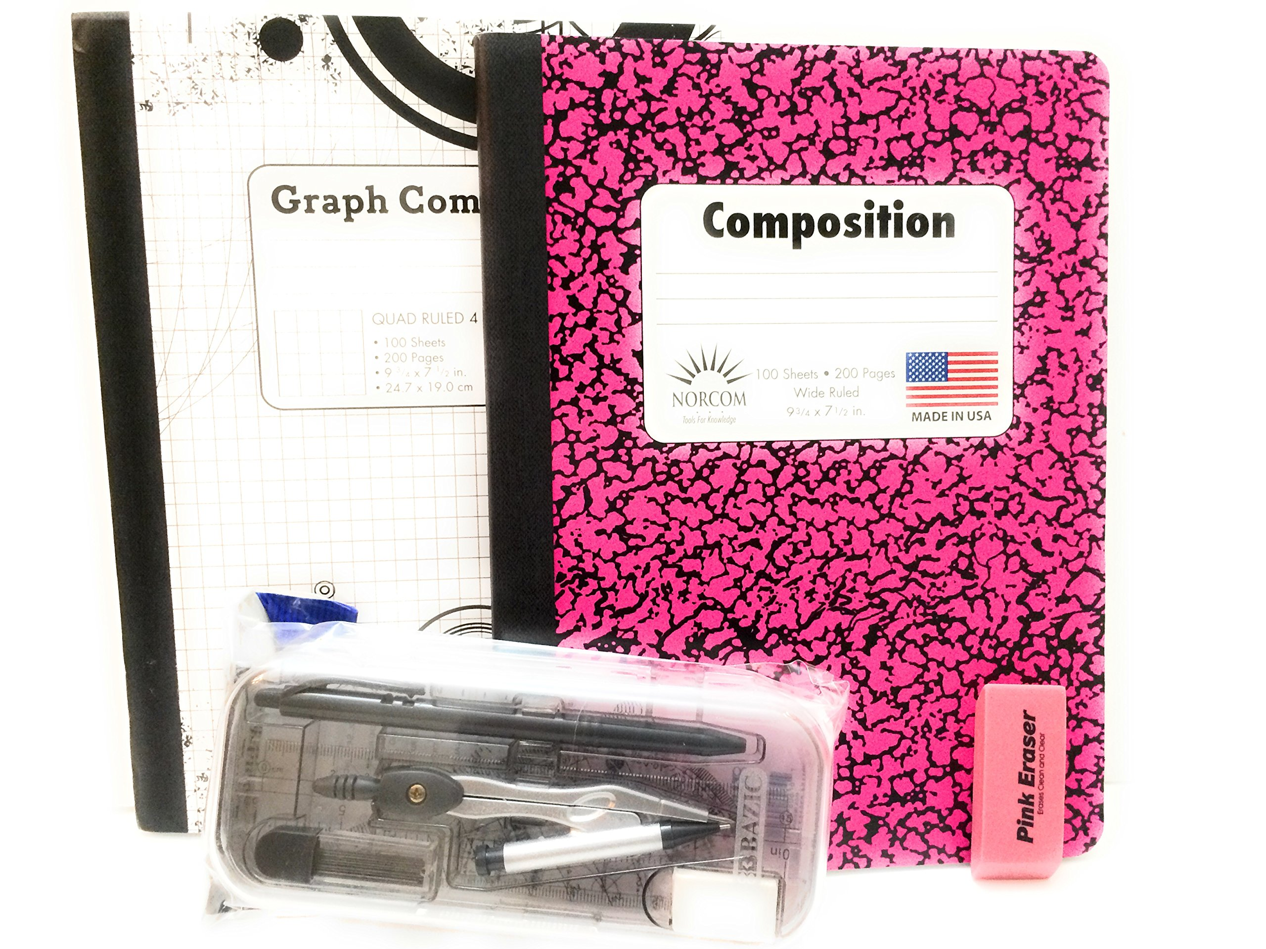 Pink & Black Graph Book And Protractor 12 Pc Bundle