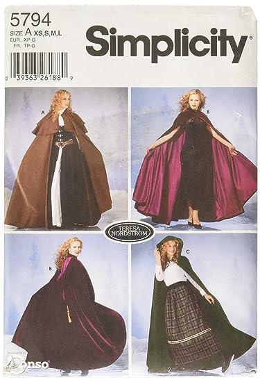 41fadbf426c55 Amazon.com  Simplicity Sewing Pattern 5794 Misses Costumes, A (XS-S-M-L)   Teresa Nordstrom  Arts, Crafts   Sewing