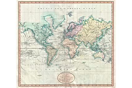 Amazon Com World Map Mercator Projection Historic Map By Cary
