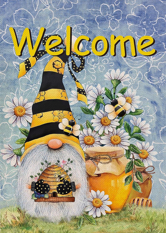 Furiaz Welcome Honey Bee Gnome Garden Flag, Spring Summer Yard Outdoor Home Decorative Small Flag, House Lawn Outside Daisy Flower Decorations Seasonal Farmhouse Burlap Decor Double Sided 12 x 18