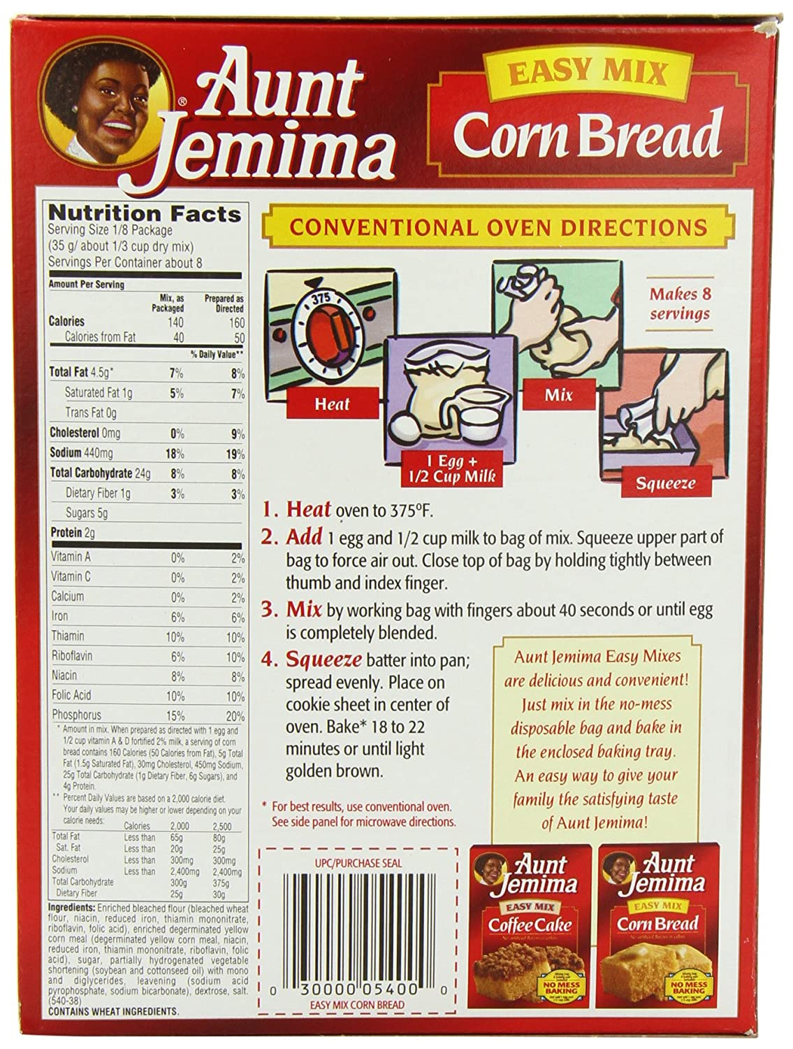 Aunt jemima corn bread mix 283 g pack of 3 amazon grocery ccuart Gallery