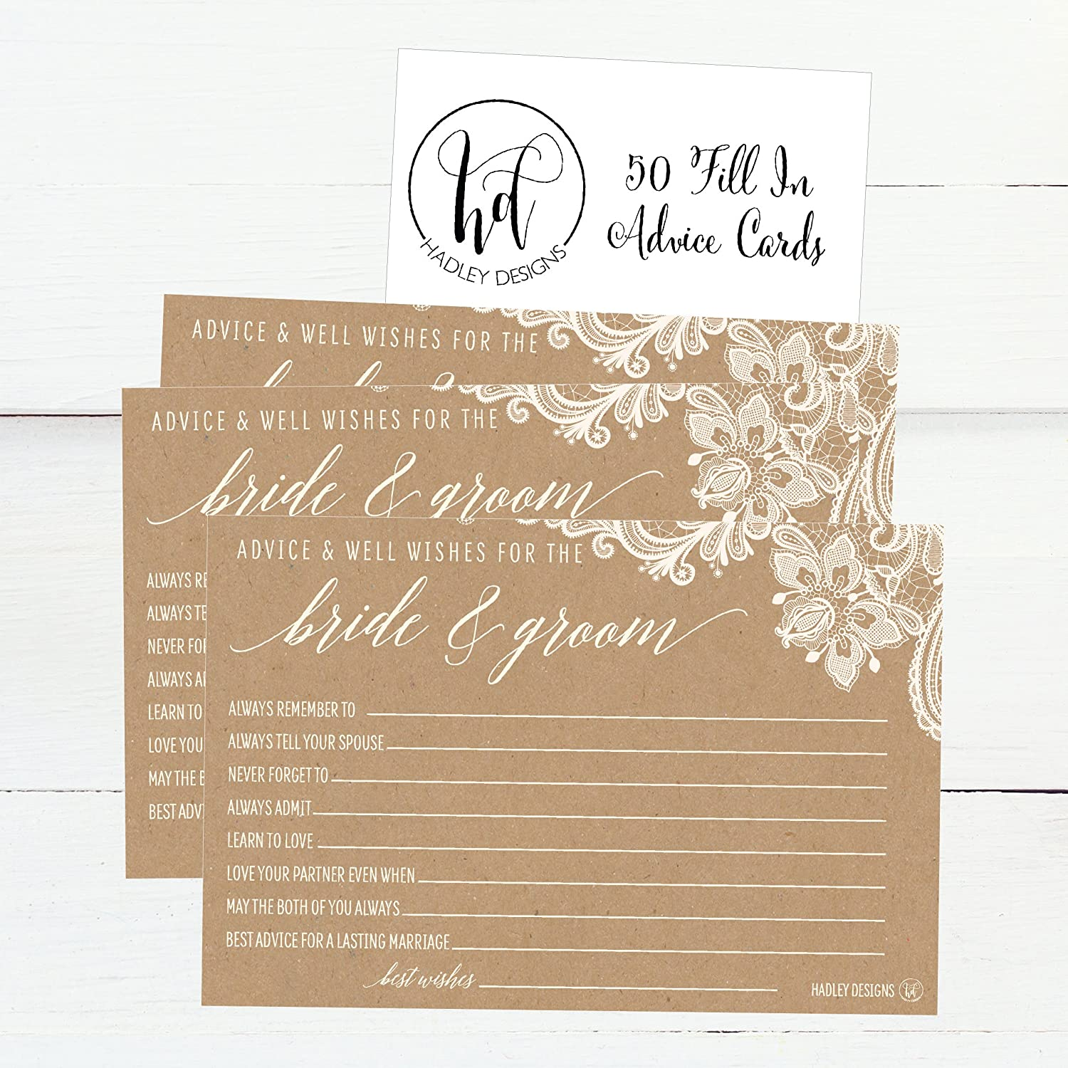 Amazon Com 50 4x6 Kraft Rustic Wedding Advice Well Wishes For