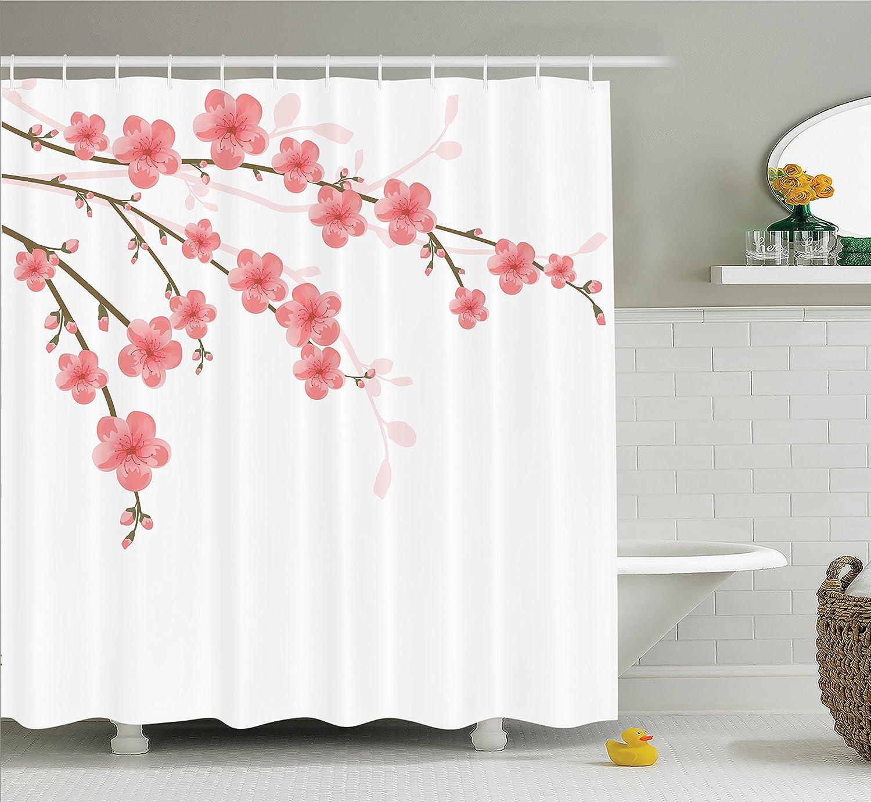 Romantic shower curtain - Amazon Com House Decor Shower Curtain Set By Ambesonne Cherry Blossom April Springtime Romantic Feminine Illustration Artwork In Soft Colors