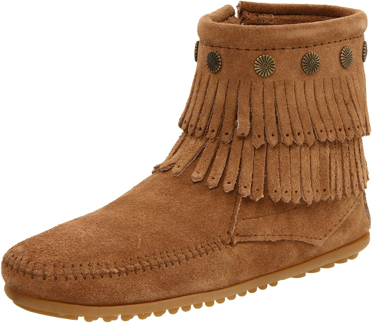 Minnetonka Women's Double-Fringe Side-Zip Boot B004UEVCUY 6.5 B(M) US|Taupe