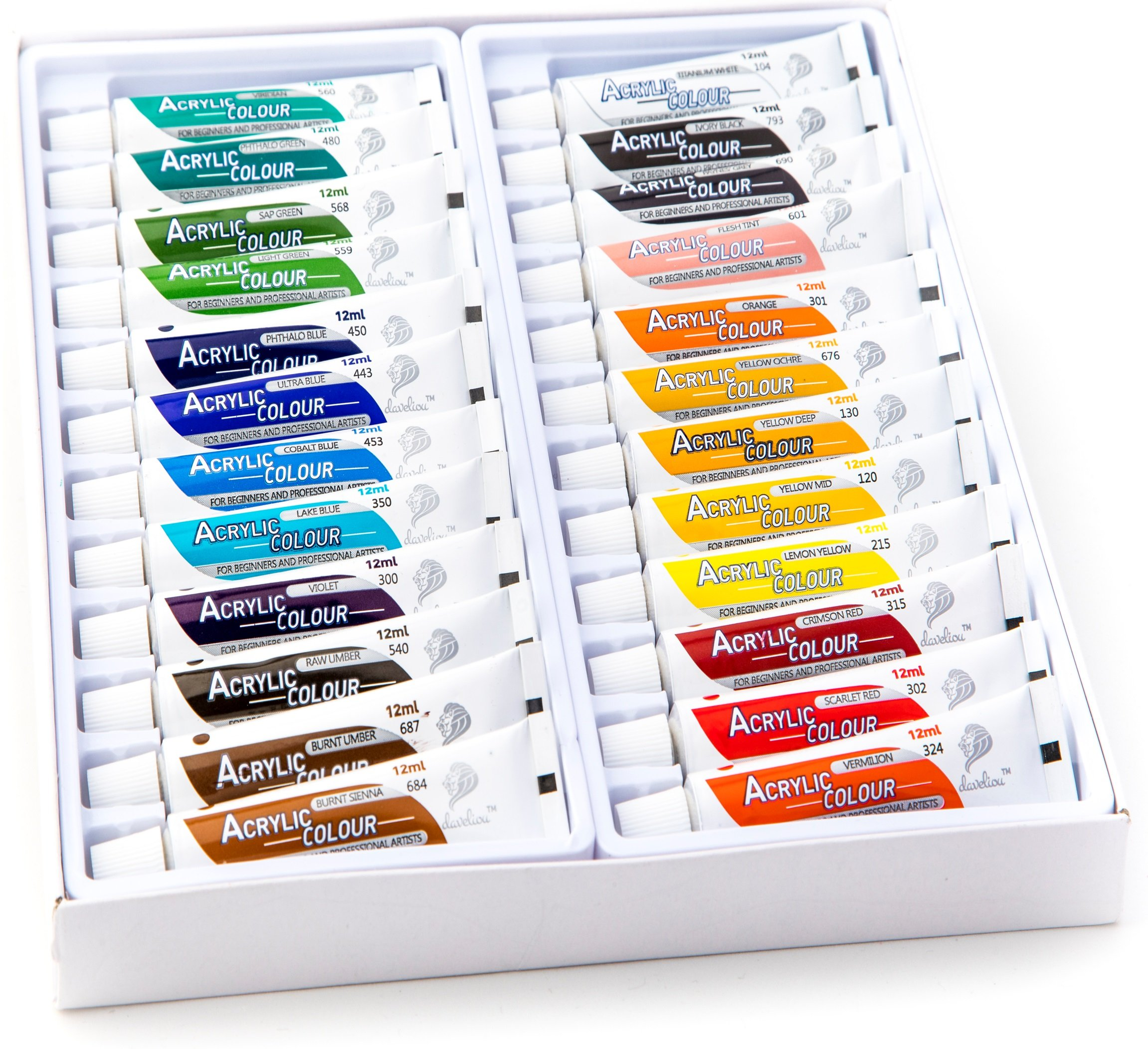 Daveliou Acrylic Paints Set – 12ml x 24 Acrylics Paint Tubes – Non-Toxic Acrylic Painting Set for Beginners, Students & Artists