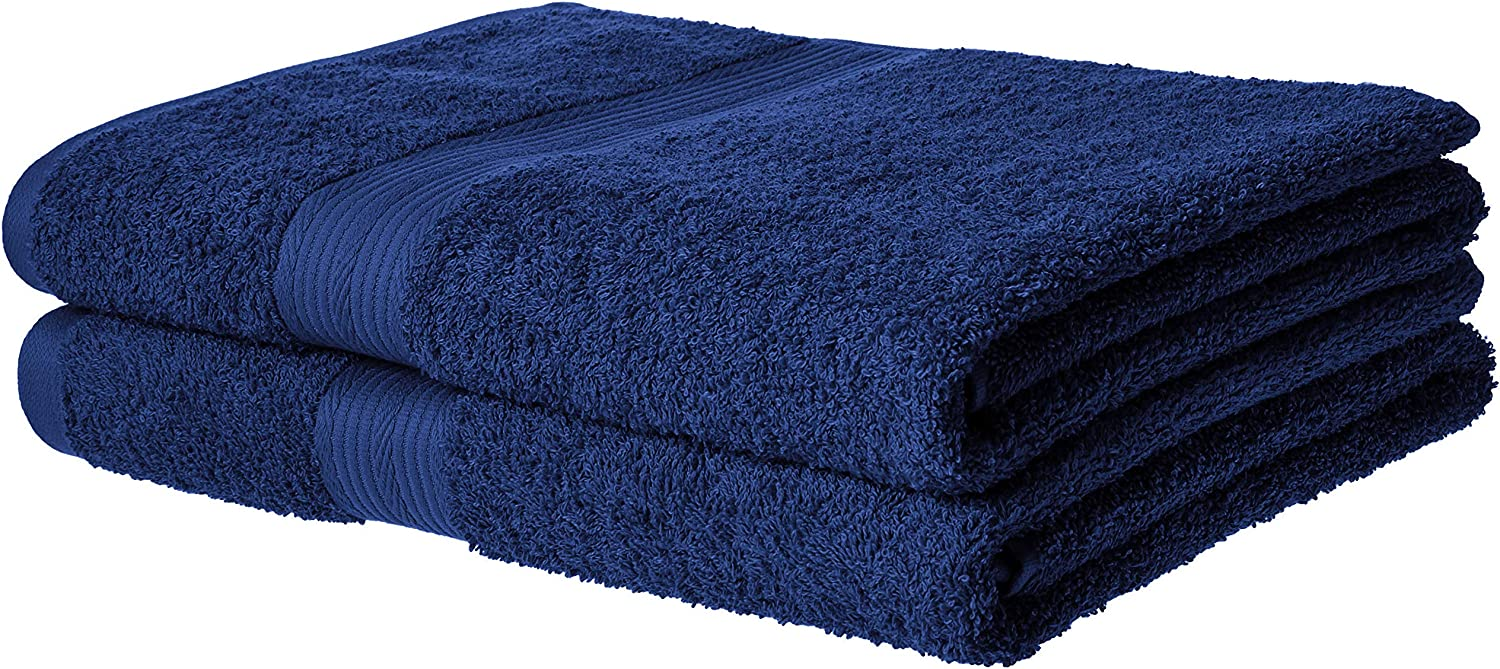 AmazonBasics Fade-Resistant Cotton Bath Towel - Pack of 2, Navy Blue