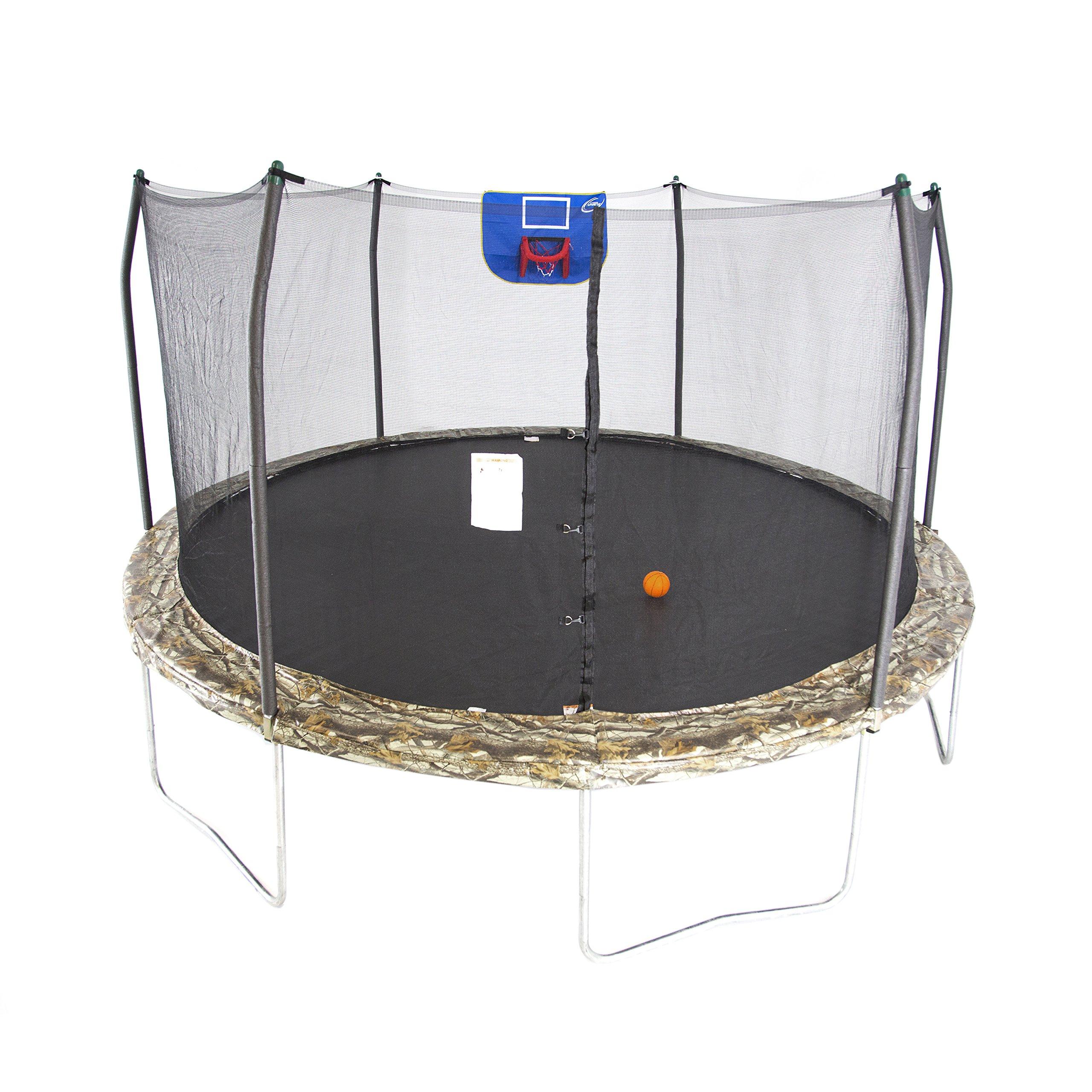 Skywalker Trampolines 15-Foot Jump N' Dunk Trampoline with Enclosure Net - Basketball Trampoline by Skywalker Trampolines