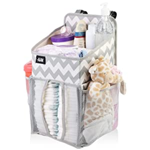 Hanging Diaper Caddy Organizer, Playard Nursery Organizer, Nursery Organizer Baby Diaper Caddy, Diaper Stacker for Changing Table, Crib, Baby Shower Gifts for Newborn, Chevron (Large, Chevron)
