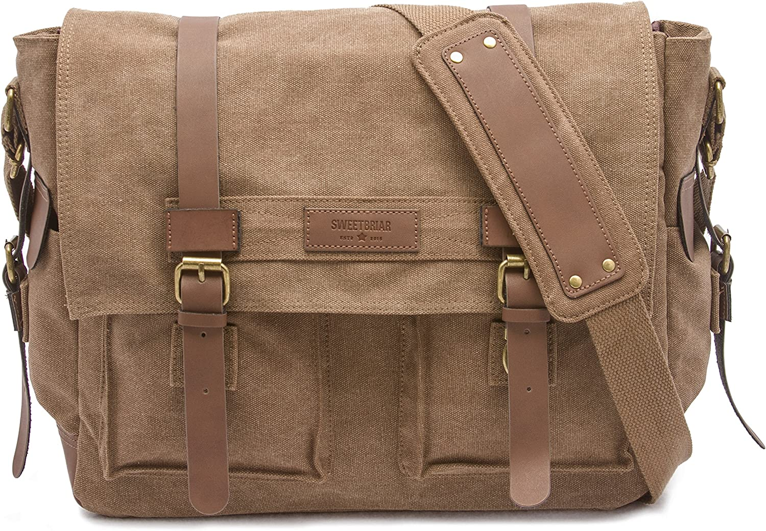 Sweetbriar Classic Laptop Messenger Bag, Brown - Canvas Pack Designed to Protect Laptops up to 15.6 Inches