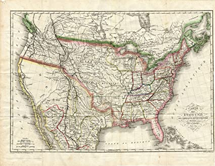 Amazon.com: Rare Antique Map-UNITED STATES-NORTH AMERICA-USA ... on us map 1840, us map 1845, us map 1830, us map in spanish, us map with parallel lines, us map 1821, us map southern united states,