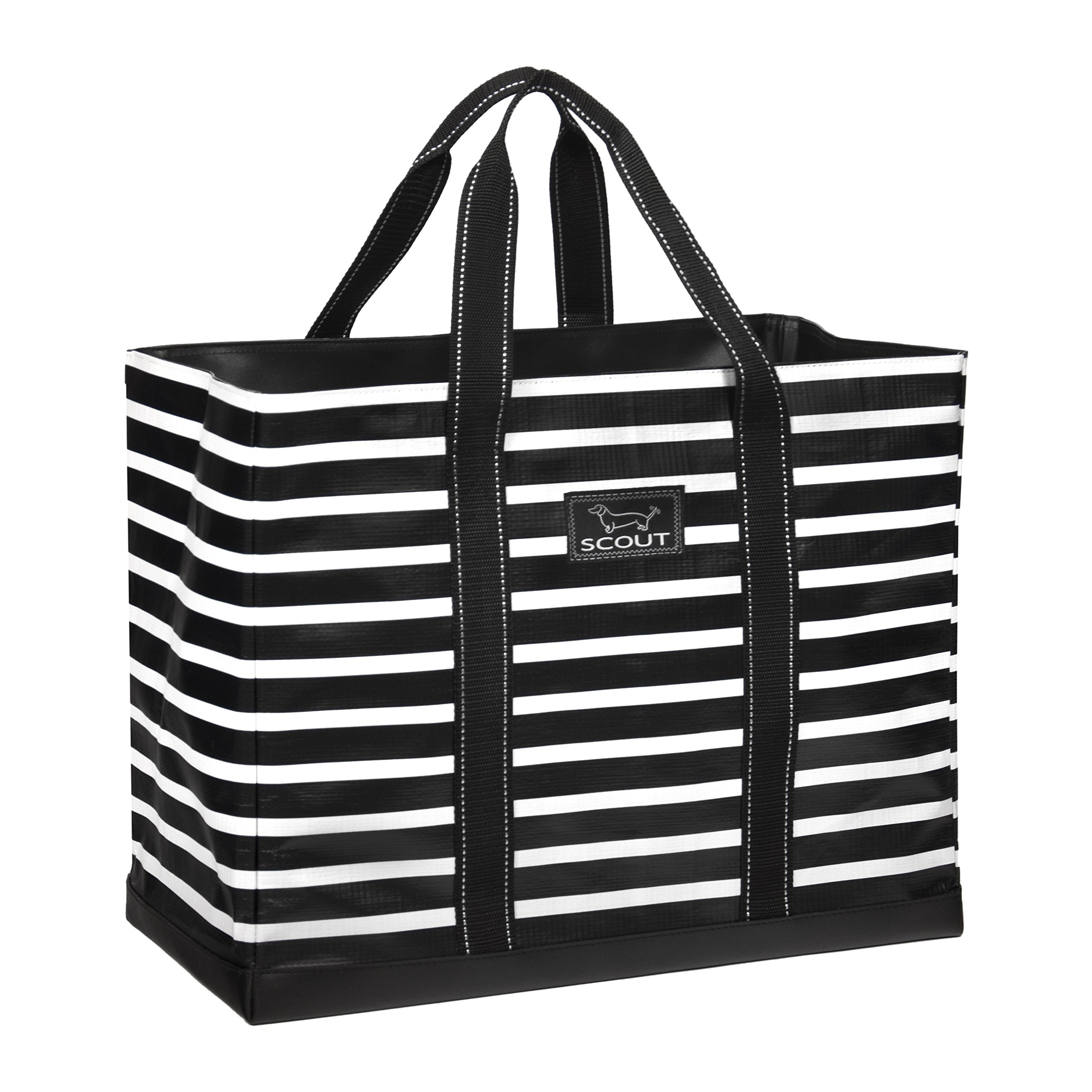 SCOUT Original Deano Large Tote Bag, For The Beach, Pool or Travel, Folds Flat, Water Resistant, Sturdy Base, Interior Key Ring, Fleetwood Black