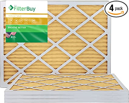 Pack of 4 Filters FilterBuy 28x30x1 MERV 11 Pleated AC Furnace Air Filter, Gold 28x30x1