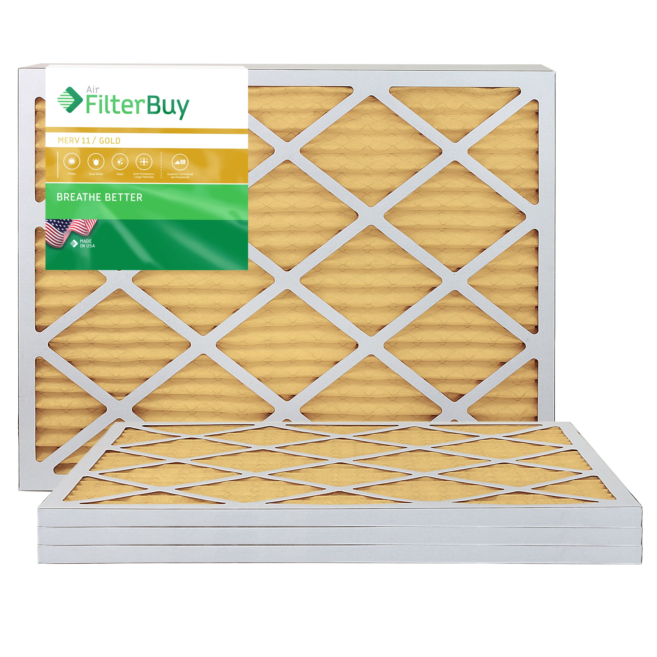 FilterBuy 16x30x1 MERV 11 Pleated AC Furnace Air Filter, (Pack of 4 Filters), 16x30x1 - Gold by FilterBuy