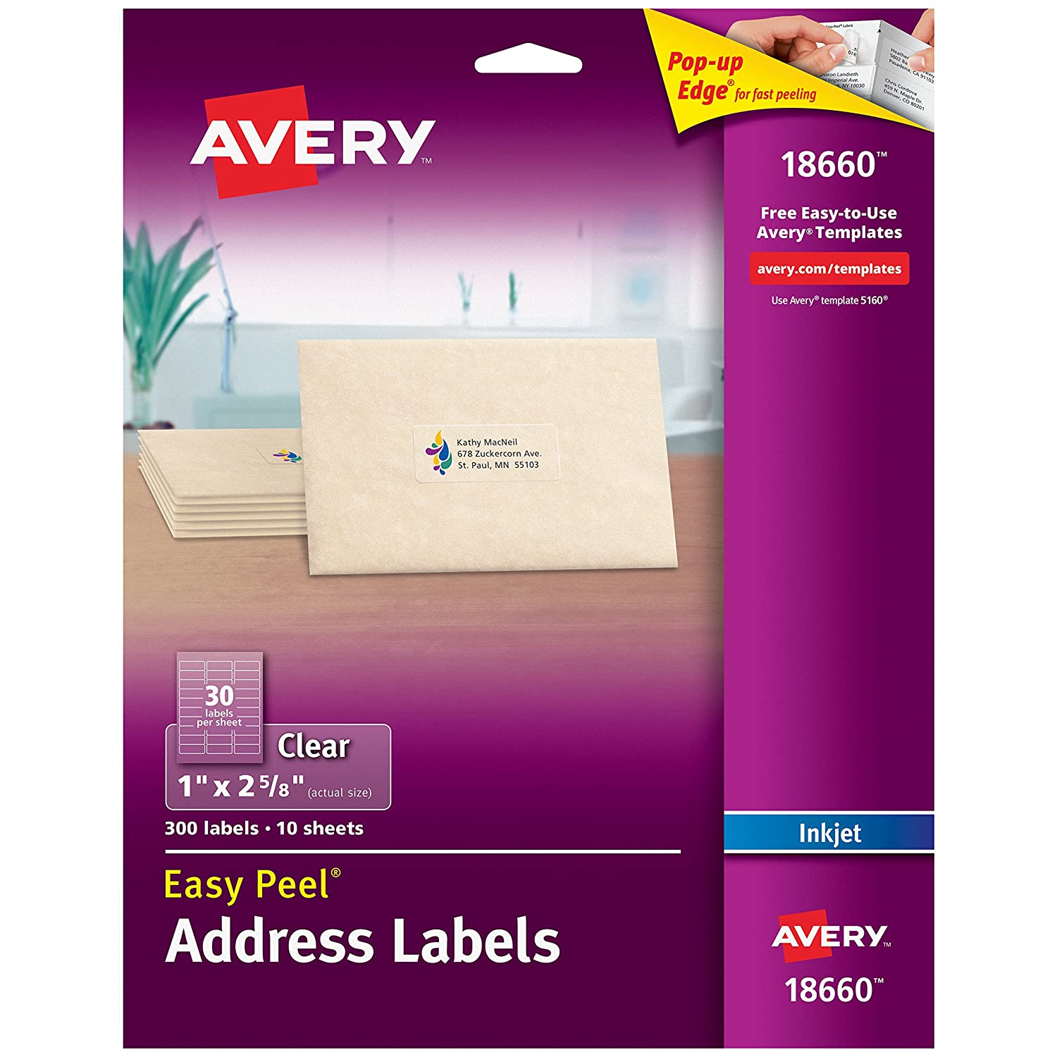 Avery matte frosted clear address labels for inkjet printers 1 x 2 5 8 300 labels 18660