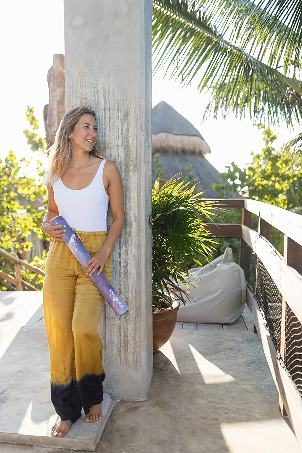 2-in-1 Mat+Towel Foldable Pilates Lightweight 1mm Thick Sweat YOGA DESIGN LAB Ideal for Hot Yoga Includes Carrying Strap! Barre The Travel Yoga Mat Bikram Eco Luxury