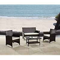 Modern Outdoor Garden, Patio 4 Piece Seat - Gray, Espresso Wicker Sofa Furniture Set
