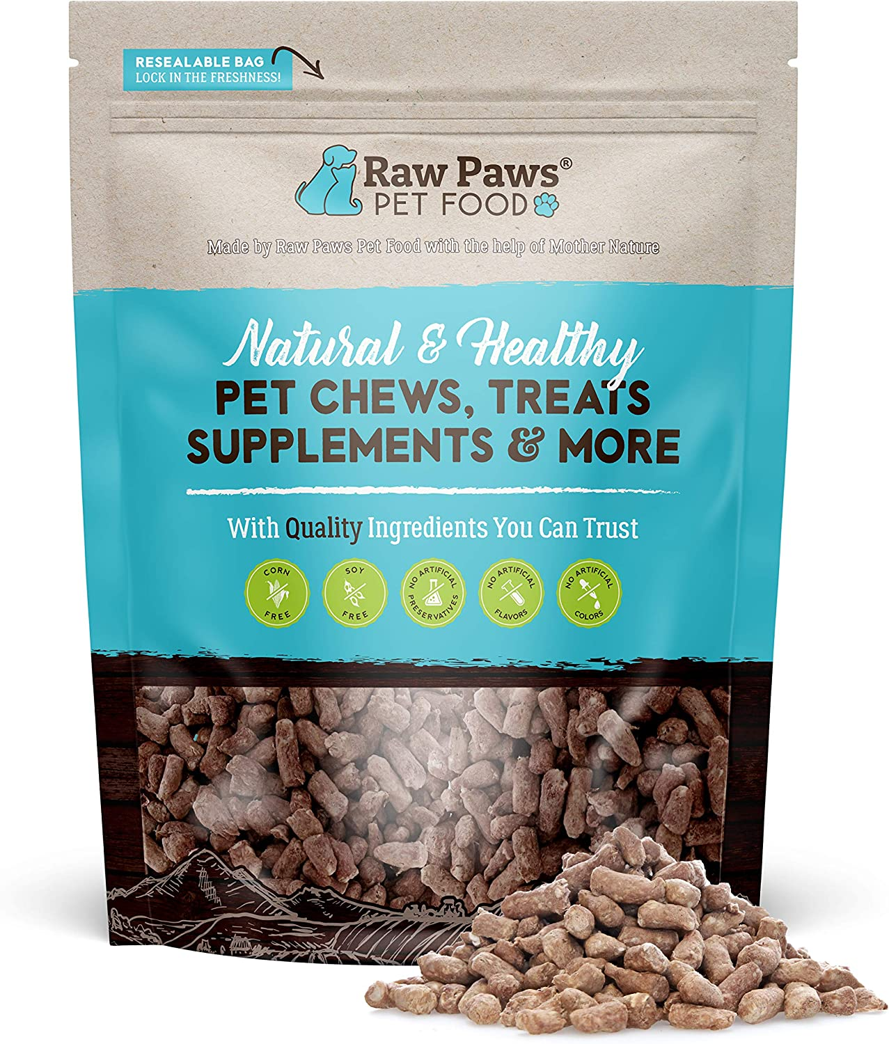 Raw Paws Freeze Dried Raw Ferret Food, Beef 16-oz - Made in USA - Premium, Grain Free Ferret Diet for Small, Adult, Senior & Baby Ferrets - Also use as Natural Ferret Treats for Rewarding & Training