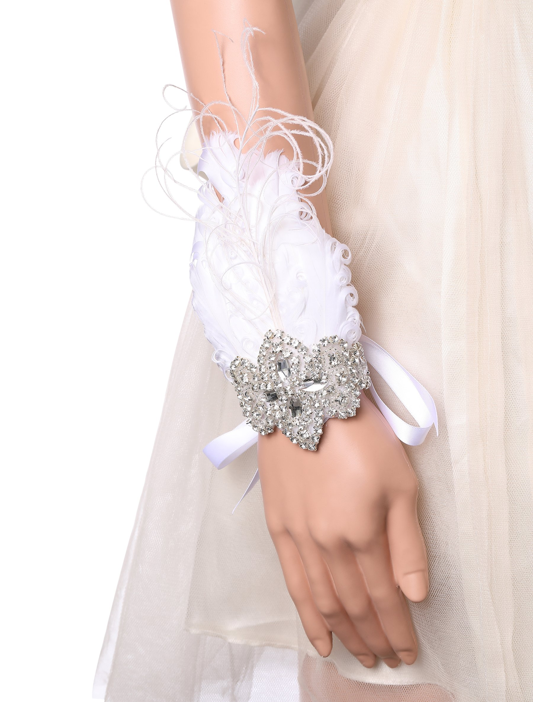 BABEYOND 1920s Wedding Wrist Corsage Gatsby Peacock Feather Bridal Wristband Corsage Roaring 20s Flapper Wedding Costume Accessories (White by BABEYOND (Image #6)