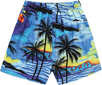 Boy Hawaiian Aloha Luau Shirt and Shorts 2 Piece Cabana Set in Blue Sunset