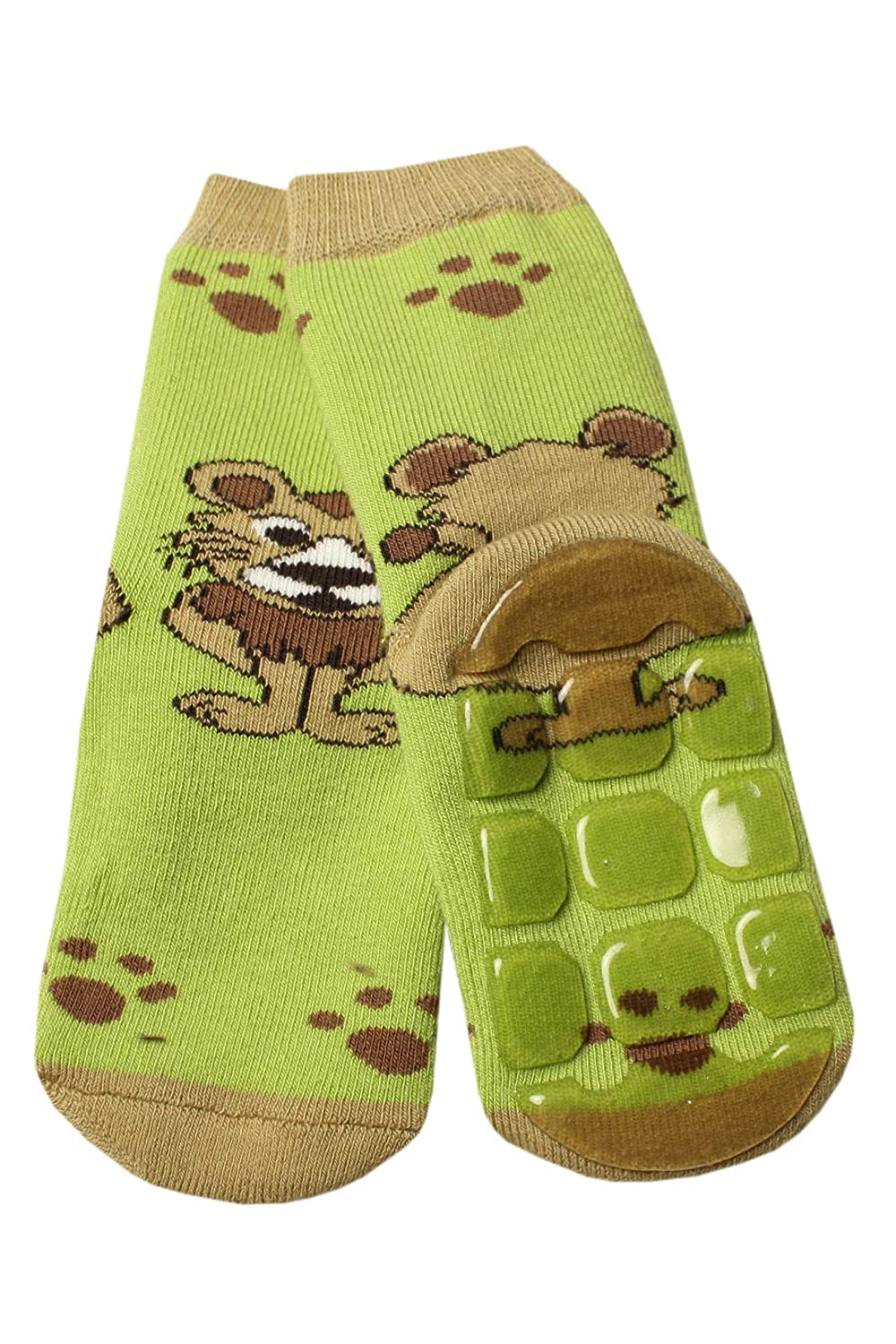 Weri Spezials Baby-Unisex Terry ABS Lionet Slippers Anti Non Slip Socks Green