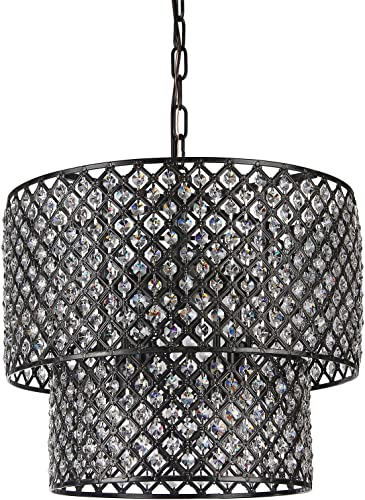 Edvivi Marya 8-Light Antique Black Finish Round Dual Drum Crystal Chandelier Ceiling Fixture
