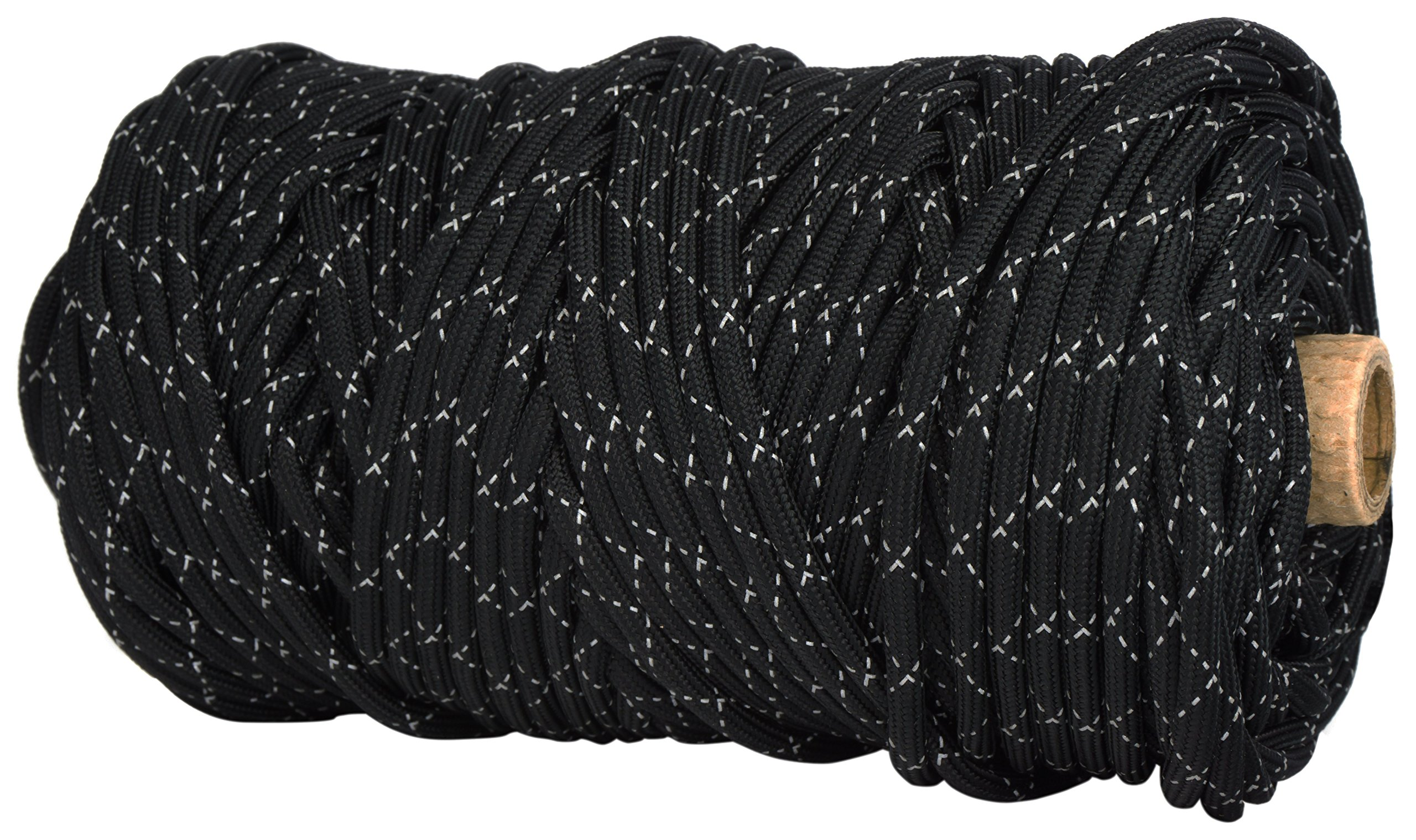 TOUGH-GRID New 700lb Double-Reflective Paracord/Parachute Cord - 2 Vibrant Retro-Reflective Strands for The Ultimate High-Visibility Cord - 100% Nylon - Made in USA. - 100Ft. Black Reflective by TOUGH-GRID (Image #2)