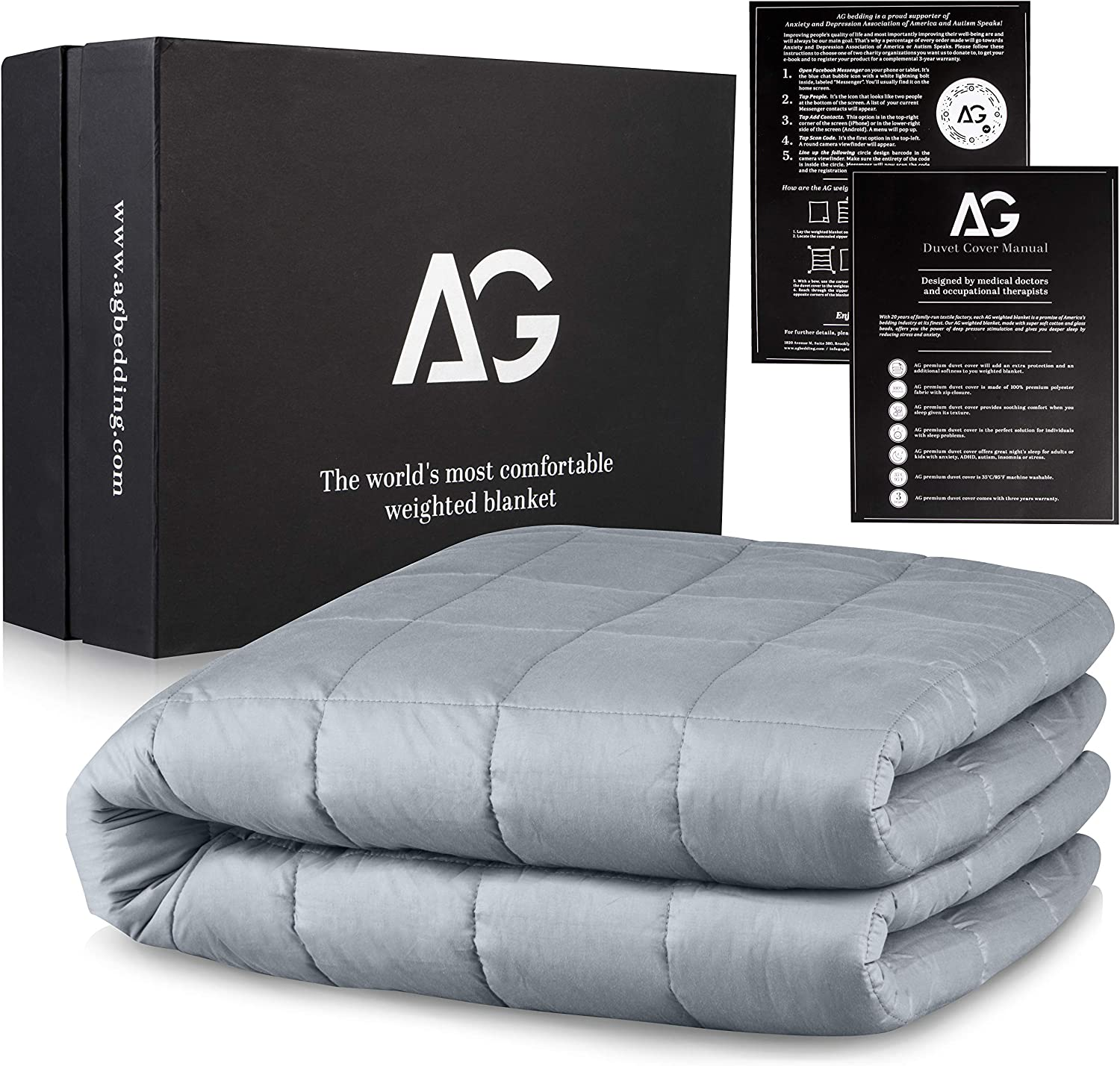 "AG Premium Weighted Blanket for Adults, 20 lbs 60""x80"", Heavy Blanket for Kids, Cooling Blanket 