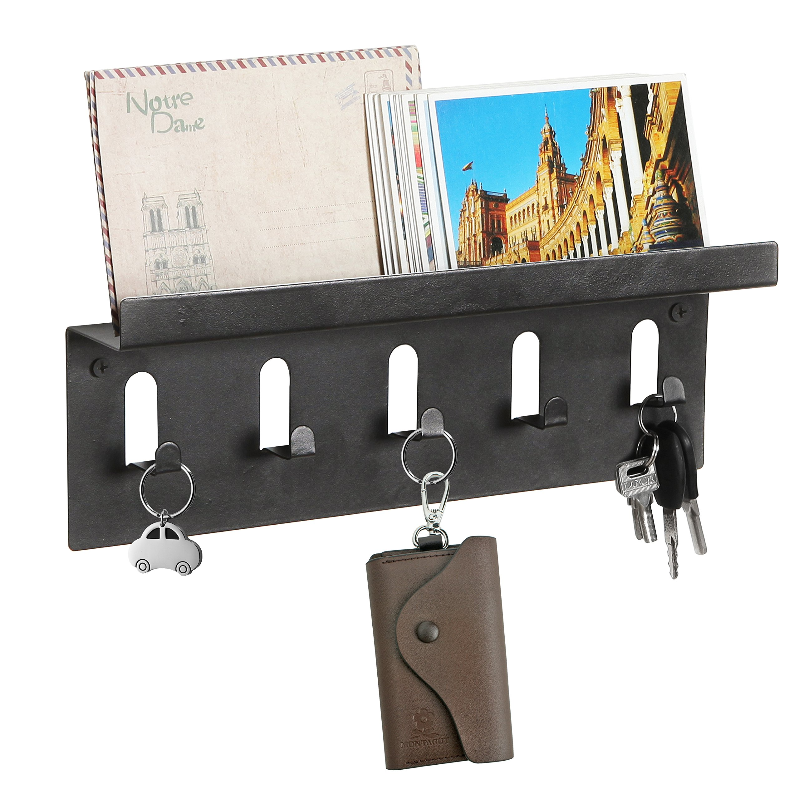 MyGift Wall Mounted Mail Holder Shelf w/ 5 Key Hooks, Organizer Storage Rack, Black