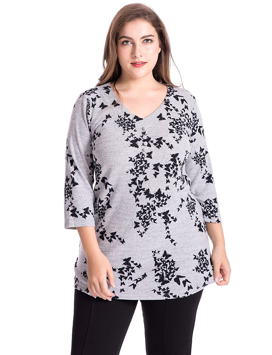 Chicwe Women's V-Neck Printed Cashmere Touch Plus Size Tunic Top US12-30 C16C091