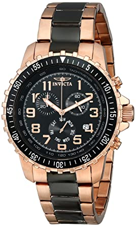 649885a67a68 Invicta Men s 1327 18k Rose Gold Ion-Plated Stainless Steel and Black Dial  Watch