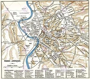 Doppelganger33 Ltd Map Antique Historic 1870 Ancient Rome City Plan Replica Canvas Art Print
