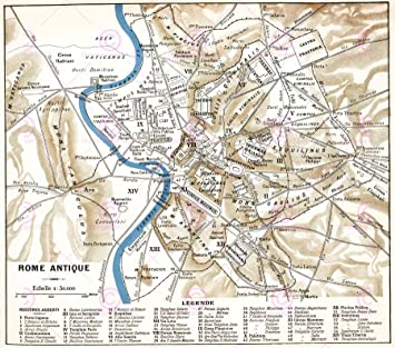 Amazoncom MAP ANTIQUE HISTORIC 1870 ANCIENT ROME CITY PLAN REPLICA