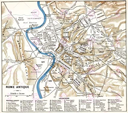 Amazon.com: Doppelganger33LTD MAP Antique Historic 1870 Ancient Rome ...