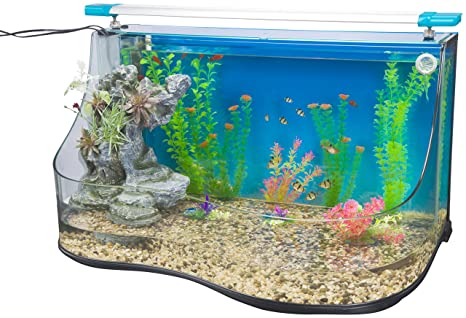 Penn-Plax Aqua terrium Acuario Agua Piscina – Dos Grandes hábitats con Cascada Cascada y