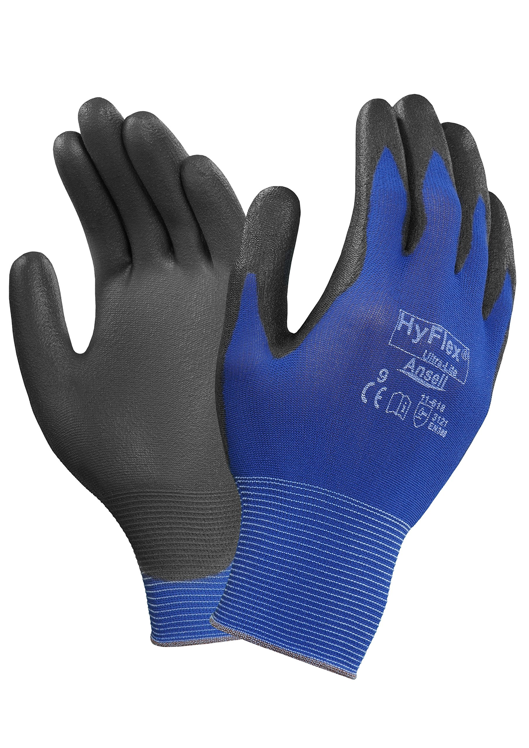 Ansell HyFlex 11-618 Nylon Light Duty Multi-Purpose Glove with Knitwrist, Abrasion/Cut Resistant, Size 9, Blue (Pack of 12 Pair)