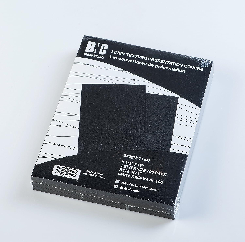 BNC Letter Size Linen Texture Presentation Covers Black Color, Pack of 100