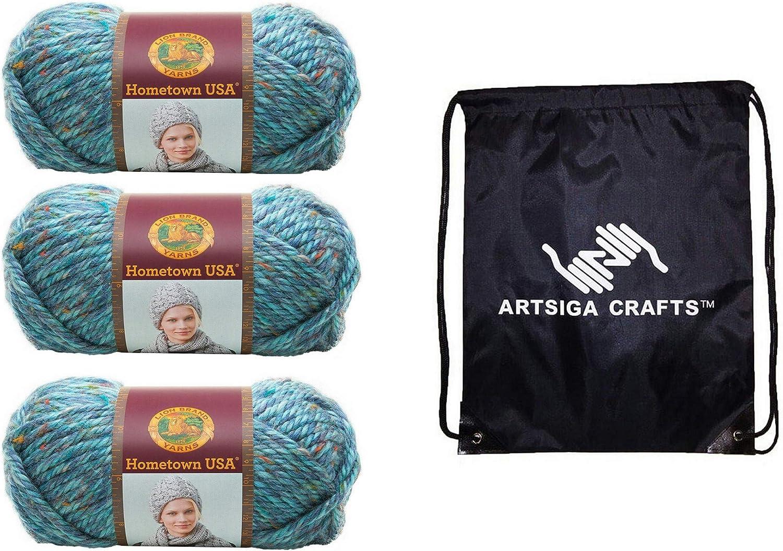 Lion Brand Knitting Yarn Hometown Key Largo Tweed 3-Skein Factory Pack (Same Dye Lot) 135-308 Bundle with 1 Artsiga Crafts Project Bag