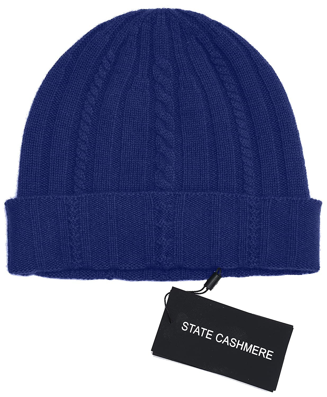 State Cashmere 100% Pure Cashmere Cable Knit Beanie Hat - Ultimate Soft, Warm and Cozy