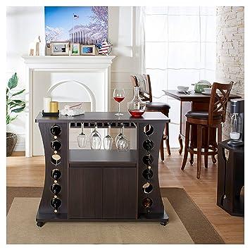 Aprodz Mango Wood Wine Storage Stylish Jara Bar Cabinet for Living Room | Black Finish