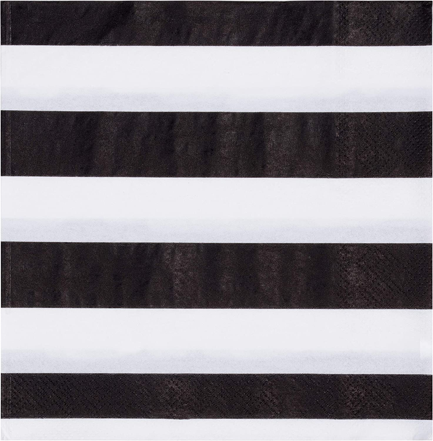Striped Party Decorations, Black and White Napkins (6.5 x 6.5 In, 150 Pack)