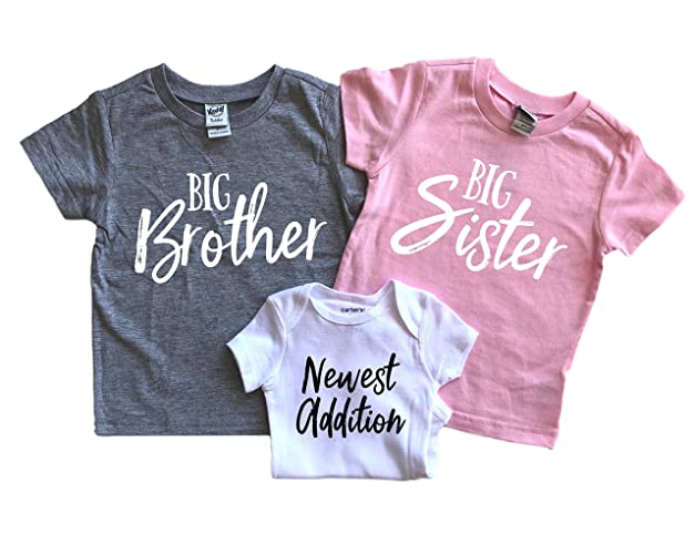 8b8aaf337bd4d Amazon.com: Big brother and big sister shirt for 3rd baby announcement:  Handmade