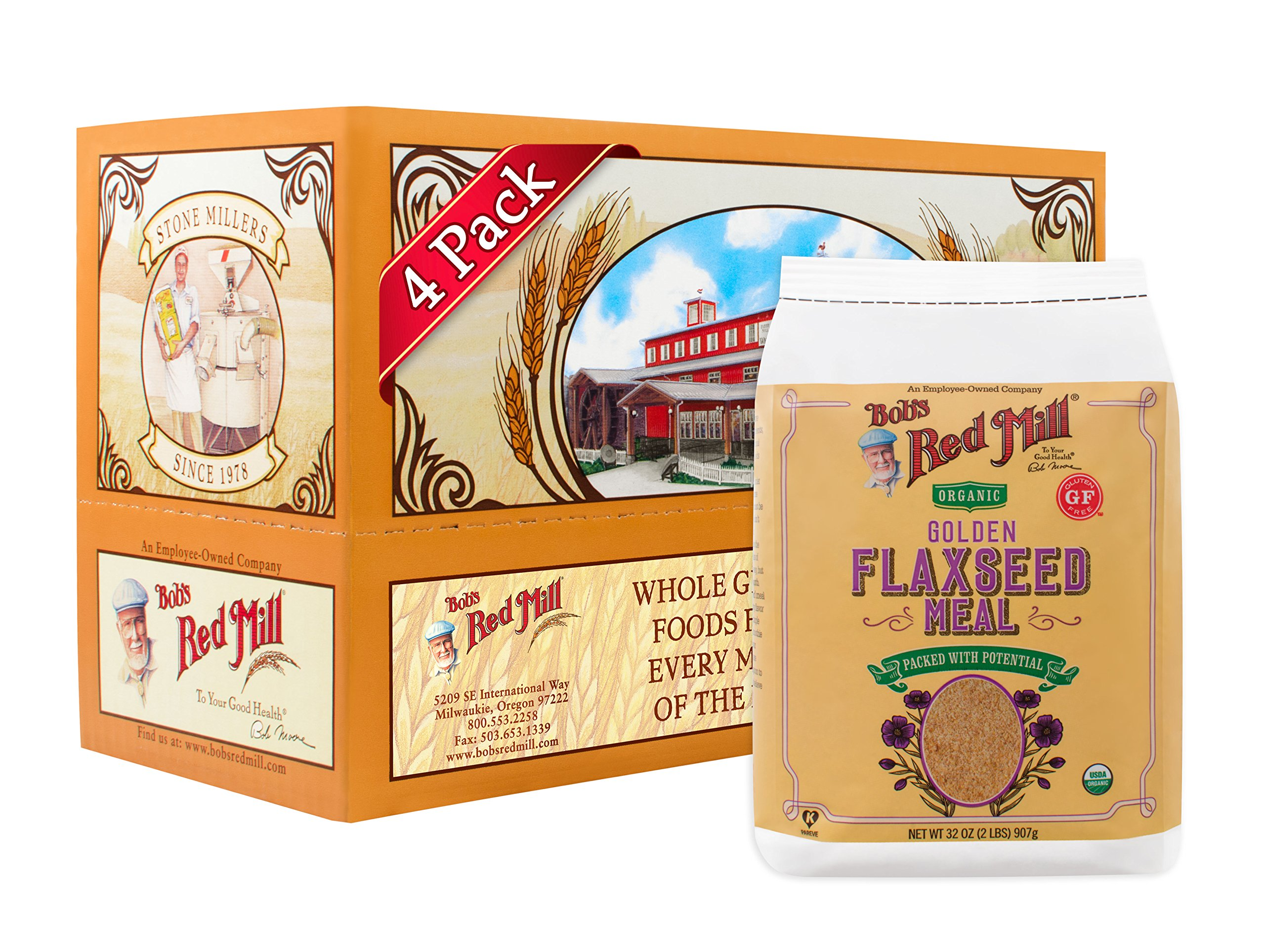 Bob's Red Mill - Resealable Organic Golden Flaxseed Meal, 32 Oz (4 Pack) by Bob's Red Mill