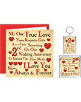 Our 2nd Wedding Anniversary Gift Set – Card, Keyring & Fridge Magnet Present – A Little Something for Husband or Wife – One True Love – Cotton Anniversary 2 Years